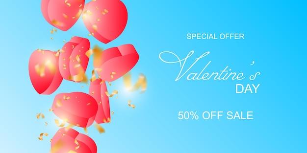 Happy valentines day verkoop banner op blauwe achtergrond
