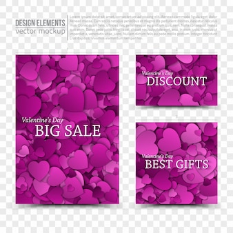 Happy valentines day verkoop ontwerpsjablonen op transparante achtergrond