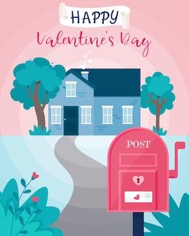 Happy valentines day wenskaart met schattig huisje en mail post