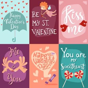 Happy valentines day wenskaarten vectorillustratie