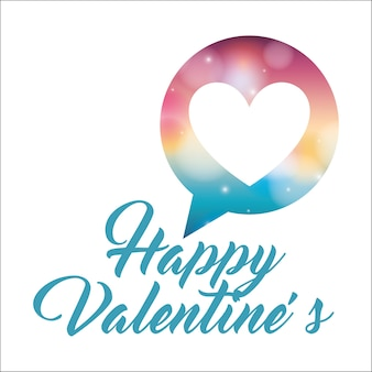 Happy valentines handschrift belettering hart liefde in tekstballon
