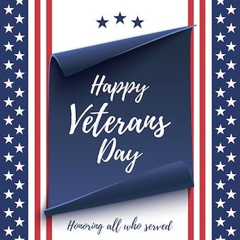 Happy veterans day achtergrond op amerikaanse vlag en blauwe, gebogen papier banner. poster, brochure of flyer-sjabloon. illustratie.