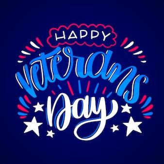 Happy veterans day belettering stijl