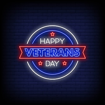 Happy veterans day neon signs style text