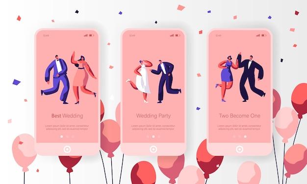 Happy wedding dancing character mobiele app-pagina schermset aan boord. leuk echtpaar vieren vakantie-evenement. newlywed engagement-website of webpagina. platte cartoon vectorillustratie