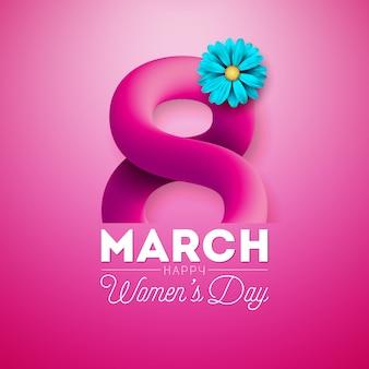 Happy women's day floral wenskaart ontwerp