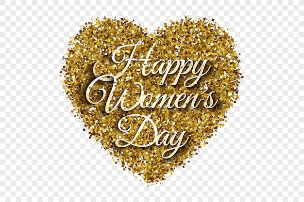 Happy women's day golden tinsel heart achtergrond