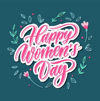 Happy women's day - hand belettering kaart.