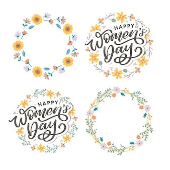 Happy women's day handgeschreven letters en bloemenkrans set