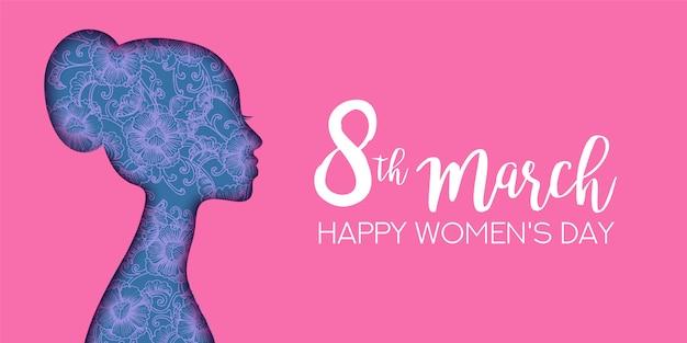 Happy women's day illustratie. papier gesneden meisje silhouet knipsel met hand getrokken bloemen.