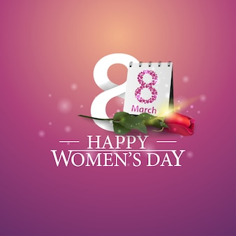 Happy women's day-logo met nummer acht en roos