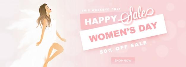 Happy women's day verkoop koptekst of banner ontwerp met mooie wo