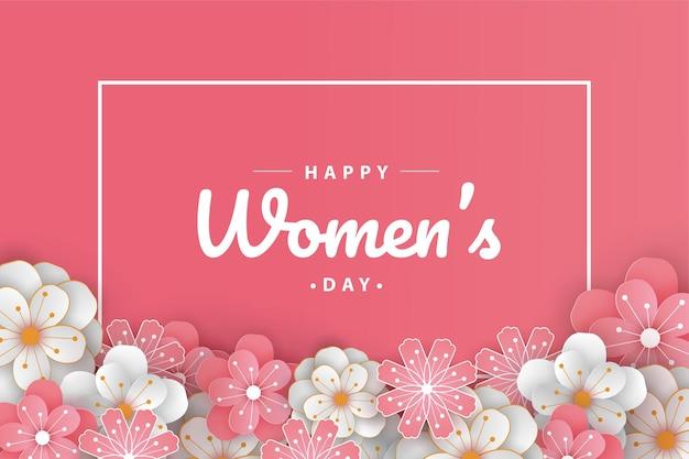 Happy women's day wenskaart papier gesneden met bewerkbare tekst.