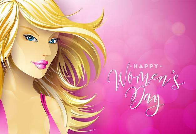 Happy womens day greeting card design met sexy blondie jonge vrouw.