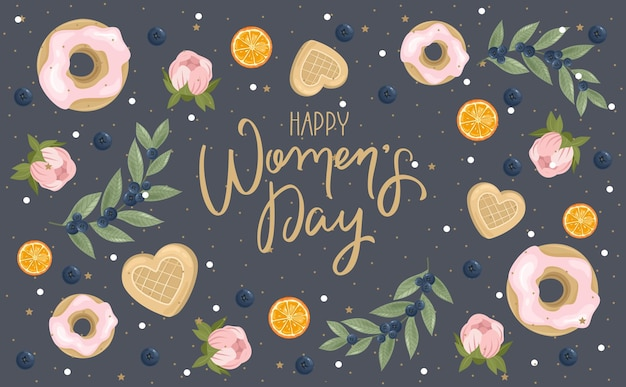 Happy womens day-groet met handgetekende bloemenachtergrond