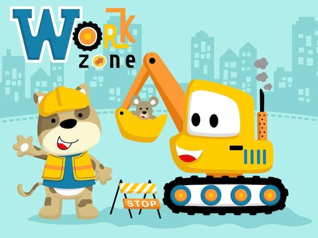 Happy worker cartoon vec