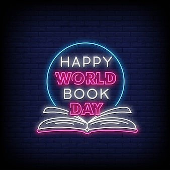 Happy world book day neon signs style tekst