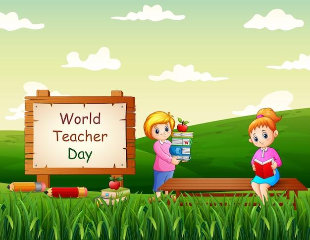 Happy world teachers day met vrouwelijke leraren