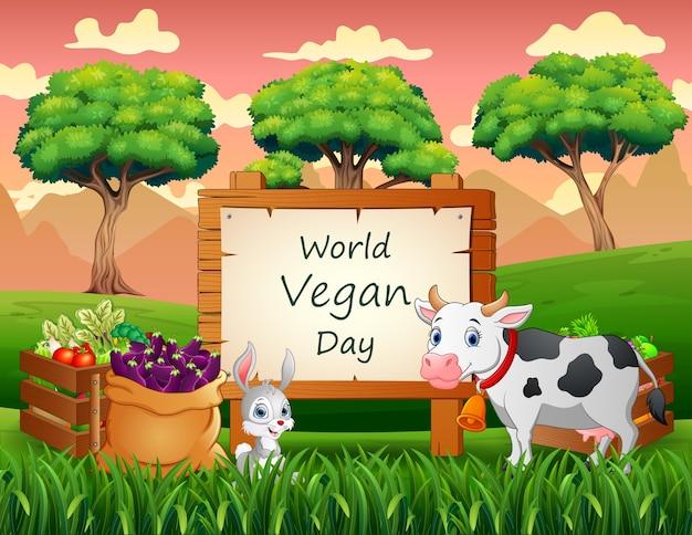 Happy world vegan day concept achtergrond