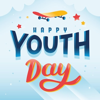Happy youth day belettering met skateboard