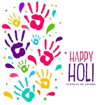 Hapy holi kleurrijke handafdrukken achtergrond