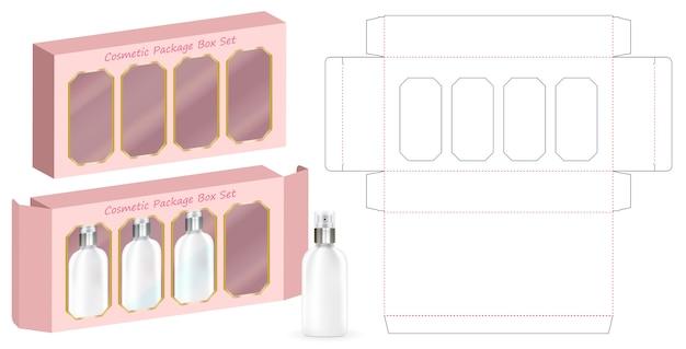 Hard-papier doos voor 4 cosmetische fles sjabloon