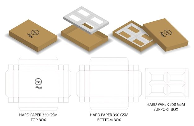 Hard-papier doos voor zeep mockup met dieline