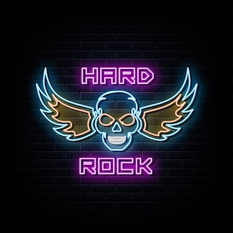 Hard rock neonreclames vector ontwerpsjabloon