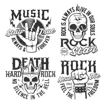 Hard rock schedel t-shirt prints, rock muziek concert vector iconen en badges. hardrockmuziekfestival en rockerclub-emblemen met schedel in kroon, vuist en vinylschijf, bliksemschichtverlichting en slogans