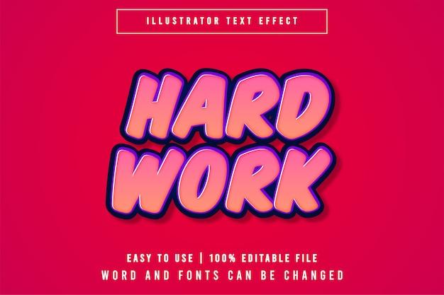Hard work, cartoon style bewerkbaar teksteffect