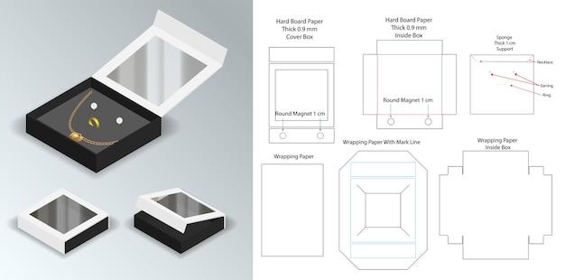Hardboard papier stijve doos 3d mockup met dieline