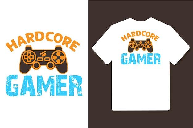 Hardcore gamer typografie vector citaten ontwerp