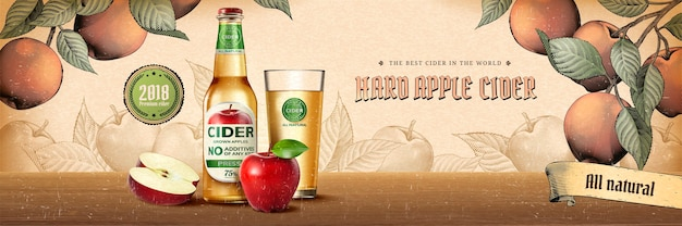 Harde appelcider-advertenties in graveerstijl met realistisch product en fruit in de boomgaardscène