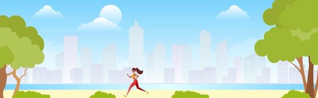 Hardlopen in stadspark. vrouw loper buiten joggen in park.