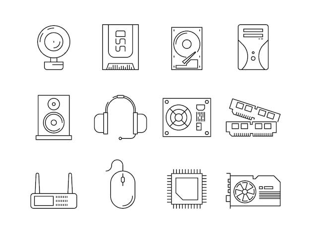 Hardware pc-componenten. symbolen van computeritems processor server ssd of hdd geheugen ram lijn pictogrammen