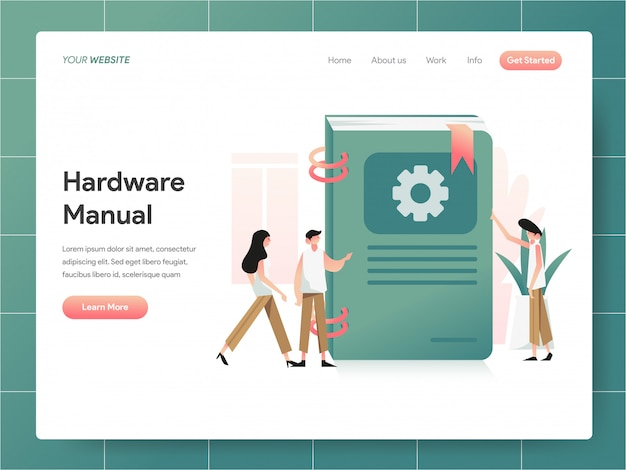 Hardwarehandleiding boekbanner van bestemmingspagina concept