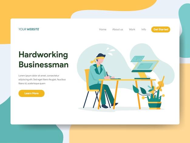 Hardwerkende zakenman voor website-pagina