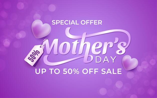 Hare dag speciale aanbieding 50 korting verkoop banner met hartjes