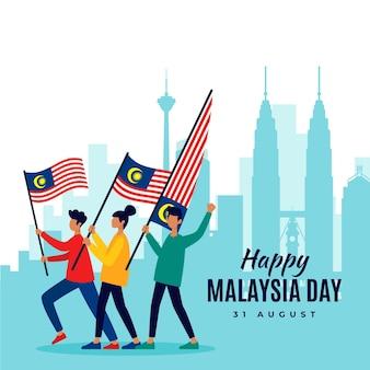 Hari merdeka achtergrond met mensen en vlaggen