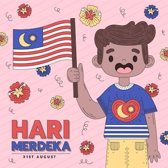 Hari merdeka met persoon die vlag houdt