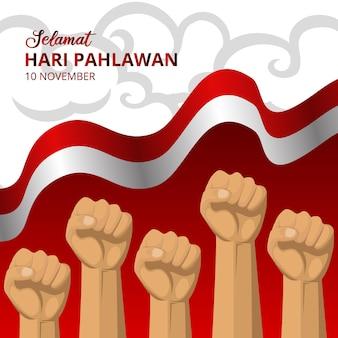 Hari pahlawan of indonesië helden dag achtergrond met wapperende vlag en vuisten illustratie