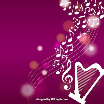 Harp achtergrond met muzieknoten