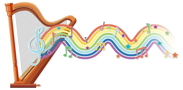 Harp met melodiesymbolen op regenbooggolf