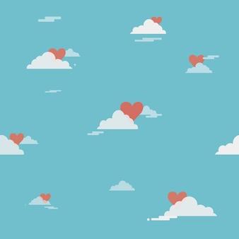 Hart achter een wolken met bluesky op de glanzende dag