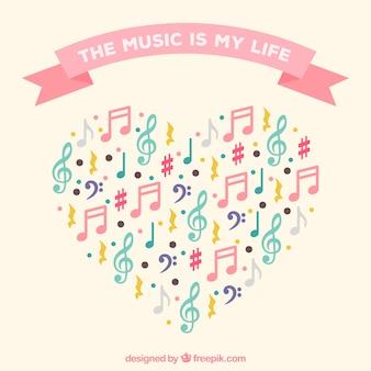 Hart achtergrond gemaakt van kleurrijke muzieknoten
