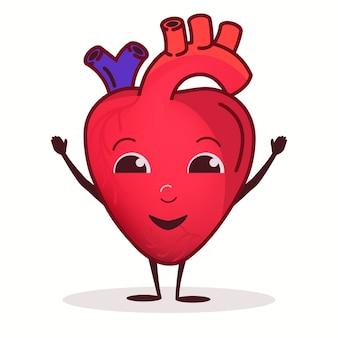 Hart blij karakter, welzijn gezondheidszorg concept, sterk hart orgel, gezonde levensstijl. vector