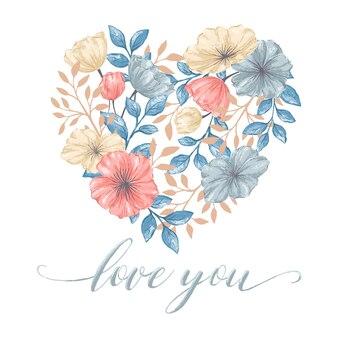 Hart bloemen kaart