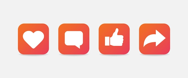 Hart, commentaar, duimen omhoog en symbolen opnieuw plaatsen. verloop social media iconen geïsoleerd. vectoreps10
