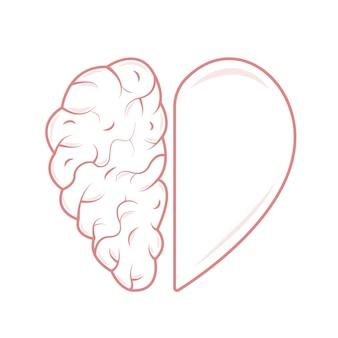 Hart en hersenen concept emotioneel quotiënt en intelligentie pictogram en logo