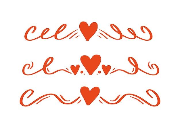 Hart en liefde swirl divider. hand getrokken schets doodle stijl. lijn krabbel hart draad vectorillustratie. liefde en bruiloft concept.